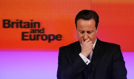 El primer ministro británico, David Cameron, en el centro de Londres, durante el discurso en el que prometió el referendo sobre la salida del Reino Unido de la Unión si ganaba las elecciones generales en 2015.