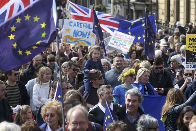 Manifestación en Londres el 25 de marzo de 2017 a favor de la Unión Europea.