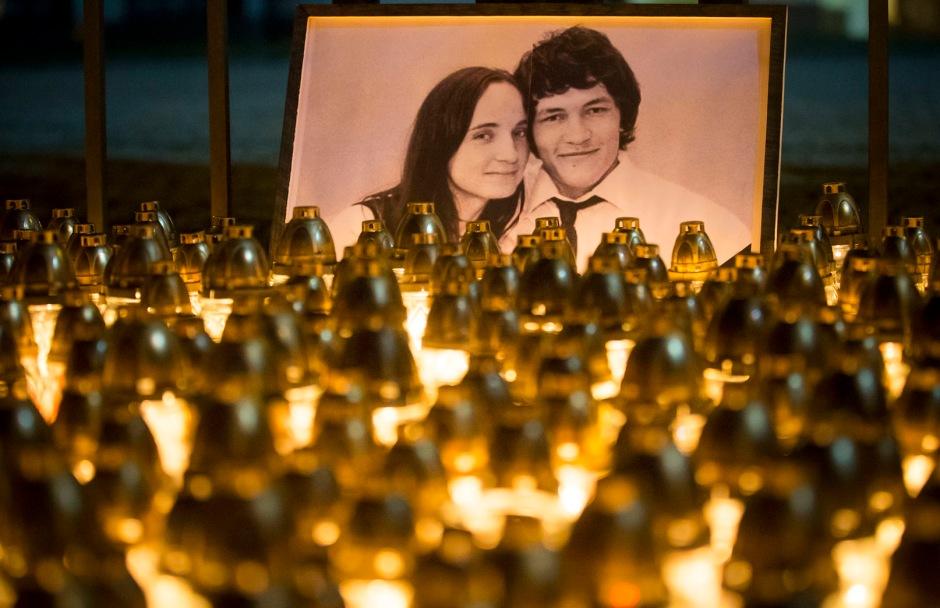Homenaje al periodista de investigación, Ján Kuciak, y a su prometida, Martina Kušnírová.